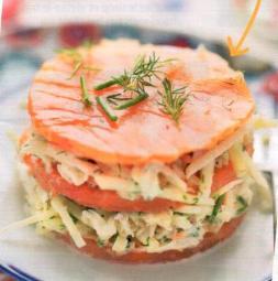 millefeuille de saumon fume crabe et pommes vertes