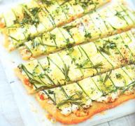 pizza aux courgettes et chèvre frais